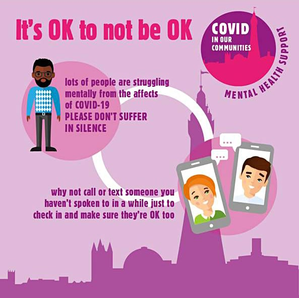 It's normal to feel down at the moment, but you don't have to suffer alone - Local group, Covid in our Communities has lots of Mental Health support available 2