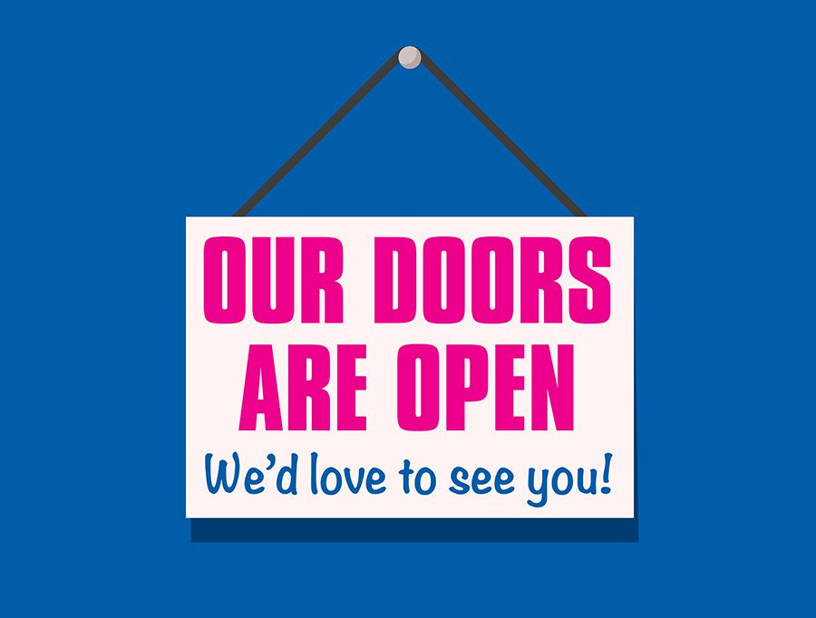 Our doors are open...welcome back! 8