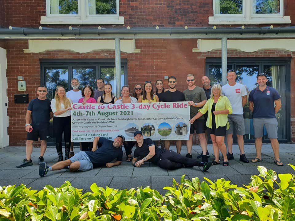 We wish them well! Our fundraising Castle to Castle cyclists get ready to start their 199-mile bike ride tomorrow...good luck all! 6