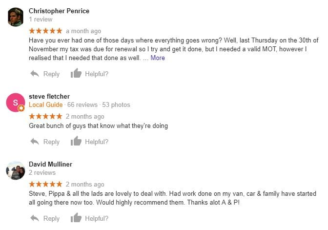 A&P Google Reviews